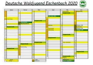 Waldjugend Eschenbach Jahreskalender 2020